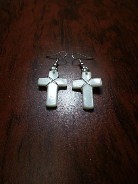 Mother of Pearl Wire Wrapped Cross Earrings - Contact me for details