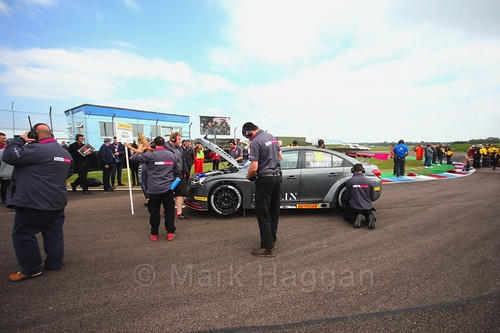 Chris Smiley on the grid at the Thruxton BTCC weekend, May 2017