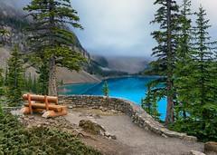 Moraine Lake Bench (Philip Kuntz) Tags: morainelake morainelakebench bench view fog mists blues banff banffnationalpark alberta canada
