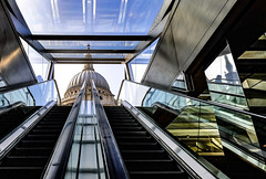 Contrasts of London by Simon & His Camera (Simon & His Camera) Tags: escalator stpauls reflection dome architecture london city urban metal lines contrast building glass iconic lookingup passage simonandhiscamera