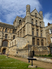 Peterborough Cathedral (ExeDave) Tags: p1050716 peterborough cathedral church stpeter stpaul standrew saintpeters central tower cloisters cambridgeshire east england gb uk architecture norman 12thcentury building may 2017 gradei listedbuilding city urban