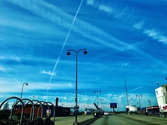 For aircraft vapor trails, the sky is just an empty canvas. #sky #vaportrail #europe