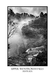 Misty Upper Wentworth Falls (sugarbellaleah) Tags: wentworthfalls waterfall valley misty foggy bluemountains australia nature rock cliffs high flowing water cold view scenic trvel tourism vacation getaway bushwalk environment cloudy trees bush mountain sandstone blackandswhite