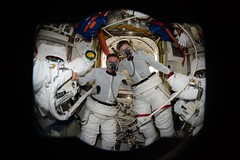 In the airlock before donning spacesuits (Thomas Pesquet) Tags: spacewalk eva jackfischer peggywhitson iss internationalspacestation