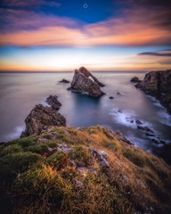 What Once Was (Augmented Reality Images (Getty Contributor)) Tags: bowfiddlerock canon cliffs clouds landscape leefilters longexposure morayfirth northsea portknockie rocks scotland sunset water waves
