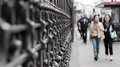 Burlington House (No Great Hurry) Tags: pointofview pov nogreathurry dof depthoffield streetphoto london royalacademy railings castiron fence bokeh robinmauricebarr daytime walking details light street city people primelens 50mm piccadilly pavement sidewalk busstop ra royalacademyofarts burlingtonhouse streetphotography robin ngh
