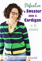 Tutorial: Refashion a sweater into a cardigan in 10 minutes! (cucicucicoo) Tags: refashion refashioning refashiontutorial sweater cardigan sew sewing diyclothes sewclothes sewingclothes stripes sewingtutorial upcycle upcycled repurpose repurposed repurposing upcycling recycle recycled recycling wearhandmade handmadewardrobe diywardrobe