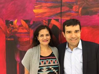 Journalist Yoleida Salazar with architect Francisco Canestri at Durban Segnini Gallery opening for Szyszlo