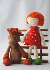 Ms. Stawberry and Horsie (Bartha Zsuzsa) Tags: crochet doll strawberry horse handmade horgolt baba ló eper eperke