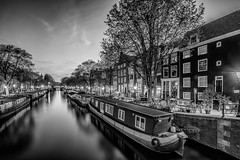 (angheloflores) Tags: amsterdam canal houses bridge lights city travel architecture beautiful sunset clouds sky colors cityscape urban explore boat water reflections blackandwhite monocrome netherlands prinsensgracht