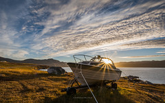 magic afternoon sun (ciwi8) Tags: greenland grönland southgreenland südgrönland boat eriksfjord fjord sun sunstar clouds waterfront water sunset afternoon magic beautiful blue yellow grass