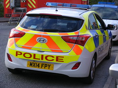 5430 - GMP - MX14 FPY - 012 (Call the Cops 999) Tags: uk gb united kingdom great britain england north west greater manchester park road bury fire thursday 27 april 2017 999 112 emergency service services vehicle vehicles 101 law enforcement police policing gmp response panda car hyundai i30 mx14 fpy battenburg