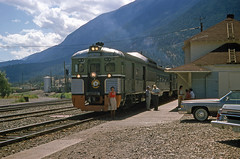 B.C. Railway Budd railcar at Lillooet station.  1979 (Brit 70013 fan) Tags: british columbia railway lillooet canada budd railcar cadillac