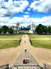Royal Naval College (heathernewman) Tags: canarywharf green sky sunshine water river thames architecture buildings london royalnavalcollege greenwich