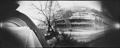 The Arch, February (batuda) Tags: pinhole obscura stenope lochkamera analog analogue can coffee coffeecan cylindrical bon film paper ortho orthochromatic photocopy 9x21 bw blackandwhite monochrome wide wideangle distortion landscape cityscape city town building architecture house construction arch arka street tree trees sky crane lsmu spaustuvininkų karaliausmindaugo winter overcast kaunas lithuania lietuva neodymium