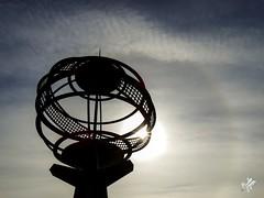 Due globi. Lisbona (diegoavanzi) Tags: lisbona lisbon portogallo portugal sony hx300 bridge sun sole halo alone fog mist nebbia foschia monumentoallescoperte padrãodosdescobrimentos