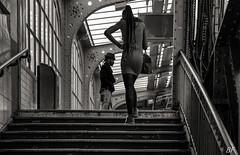 Barbès: Beautiful...... stairs !! (poupette1957) Tags: art atmosphère architecture black canon city curious detail deco french fashion graphisme humanisme imagesingulières life lady monument monochrome noiretblanc noir photographie people parisblackandwhite paris metro rue street stairs town travel urban ville voyage
