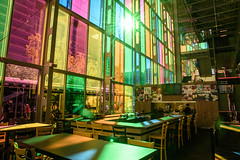 Colourful Bar (caribb) Tags: montreal montréal quebec québec canada urban city 2017 citéinternational palaisdescongres color colour colorful colourful resto restaurant windows colouredglass