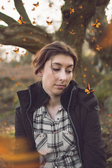 Where the Butterflies Dance (GideonAJWay) Tags: butterflies outdoors happy fly spring composite color conceptual concept story idea photoshop project passion pose portrait manipulation model
