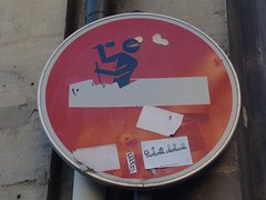 Sticker by Clet Abraham (emilyD98) Tags: insolite panneau streetart paris clet abraham sticker autocollant mur wall street art rue urban exploration city ville silhouette fake roadsign road sign