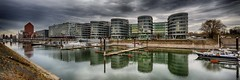 Marina and 'Five Boats' - Duisburg, Germany (dejott1708) Tags: duisburg germany innenhafen five boats marina panorama cityscape reflections architecture