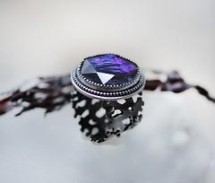 Blue green ammolite ring ~ (Modeste Parisienne) Tags: modesteparisiennejewelryjewellerygemstones ammolite ring