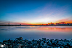Another night at the river VII (Robert Stienstra Photography) Tags: rhine river riverbanks riverscape riverrhine riverscapes riverside dutchriver landscape landscapephotography bluehour bluehourphotography sunset sunsetphotography sunsets sunsetporn reflection reflections tree trees twilight outdoor tokina1224mm robertstienstraphotography wageningen gelderland geldersestreken waterscape waterscapes beach water lake dusk sky
