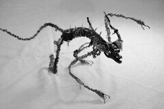 Sculpture from recycled metal Daemon B&W (Vortex67) Tags: art metal handmade wire sculpture recycled robot craft démon daemon monster montre