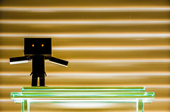 Dark Dando. (CWhatPhotos) Tags: cwhatphotos photographs photograph pics pictures pic picture image images foto fotos photography artistic that have which with contain olympus epl5 box danbo danboard toy mini light shadow shadows small silhouette silhouetted silhouettes dambo