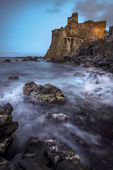 (Joseph Burns 32) Tags: longexposure sicily italy water waves ocean night landscape castle
