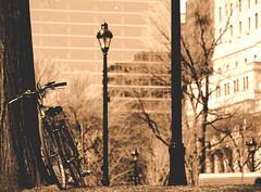 une pause pour ma cadillac (photosgabrielle) Tags: photosgabrielle urban bike velo monochrome sepia streetphotography montreal ville city montréalcentreville