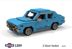 Datsun 120Y 2-Door Sedan (B210) (lego911) Tags: datsun 120 120y y coupe sedan 2door 1973 1970s classic japan japanese cokebottle auto car moc model miniland lego lego911 ldd render cad povray foitsop