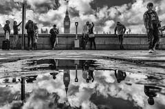 London Fun (christian.barroso) Tags: bw blackandwhite blackwhite street streetphotography mirror london rain bigben holiday europe