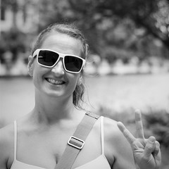 Sarah (michael.veltman) Tags: peace project sign woman portrait hand signal smile canada