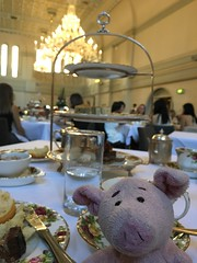 Dave enjoys high tea (pianoforte) Tags: queenvictoriabuilding qvb shopping sydney sydneynsw downtown businessdistrict dave pig travelingnongnome australia2017 australia