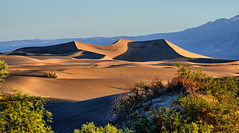 Sunrise at Mesquite Flat Dunes (Frank Shufelt) Tags: mesquiteflatdunes sand desert deathvalleynationalpark stovepipewells california usa northamerica landscape sandscapes dunes 9205 sunrise dawn morning shadows light rock sandstone mountains nature natural