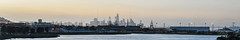 india basin sunset skyline (pbo31) Tags: bayarea california nikon d810 color may 2017 spring boury pbo31 northerncalifornia sanfrancisco city urban hunterspoint shipyards industrial closed redevelopment naval sunset panoramic large stitched panorama skyline baybridge bridge salesforce construction silhouette indiabasin bay orange port