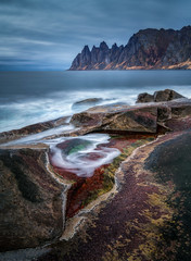 Nature is a Painter (hpd-fotografy) Tags: arctic dragonsteeth norway scandinavia senja beach cold color dramatic longexposure mountain north seascape stars water wideangle