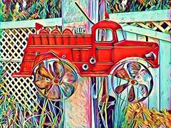 Garden Fire Engine (Thad Zajdowicz) Tags: fireengine windmill decoration prisma photomanipulation zajdowicz pasadena california cellphone availablelight motorola droid turbo android mobile smartphone cameraphone outdoor outside