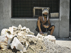 Headgear (Beegee49) Tags: man hat street cartoon construction bacolod city philippines