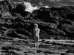 Surf Girl on Rocks (bill stanton) Tags: black white bw monochrome monochrom blackandwhite blackwhite sony sonyalpha sonya7 a7 a7ii a7m2 mirrorless digital girl beach bikini girls body beautiful sexy woman legs shoreline shore rocks rocky surf spray seafoam tidal pools tidepools