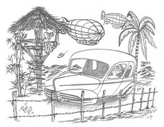 Chengdu (rod1691) Tags: bw sketch scifi china alien concept custom car retro blimp space hotrod drawing pencil h2 hb original story fantasy funny automotive art illistration moonpies