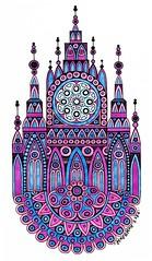 Purple Copic Castle (Mashmuh) Tags: mandala мандала zentangle зентангл