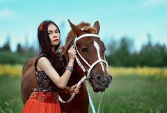 Gipsy (Kristina_korotkova) Tags: girl model gipsy horse field wood greens summer yellow flowers red