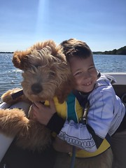 Kizzie and Chewy's adorable little boy Arlo boating with best friend!