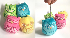Owlets mini plush (Andrea Kang) Tags: plush owls owl owlets cute kawaii toy designertoy arttoy andreakang pink teal yellow urbanoutfitters arttoys mini nathanjurevicius toytokyo keychain