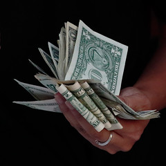 The Wife's Hand (RicoLeffanta) Tags: hand wife spouse dollar bill banknote 5 20 1 fistful handful currency us usa folded chinatown oahu hawaii rico leffantaamerican