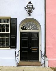On Rainbow Row: 97 East Bay Street (c.1740) , Charleston, SC (Spencer Means) Tags: dwwg rainbowrow charleston sc southcarolina door architecture doorway window lantern lamp iron colonial building house prerevolutionary eastbay street