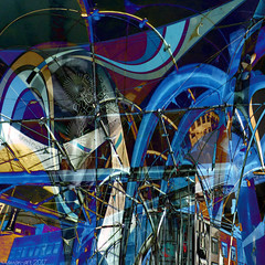 City Blues (Lemon~art) Tags: city shopping shoppingquarter manipulation abstract shops signs welcome pain pleasure blue blues 3ofblue