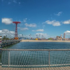 Coney Island Panoramic Fishing Pier (artsynancy) Tags: coneyisland brooklyn coneyislandbrooklyn spring amusement throwback urban seaside shore boardwalk carousel entertainment newyorkcity newyork brooklynnewyork